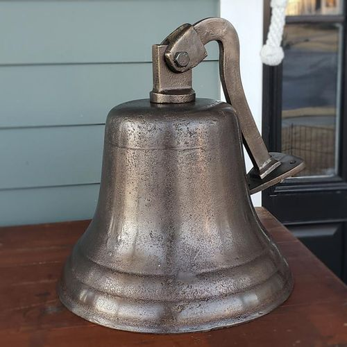 14 Inch Diameter Distressed Brass Wall Bell