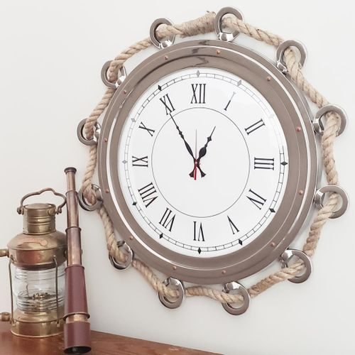 24 Inch Porthole Clock with Rope
