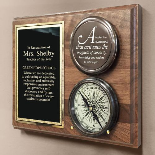 Teacher Compass On Personalized Plaque
