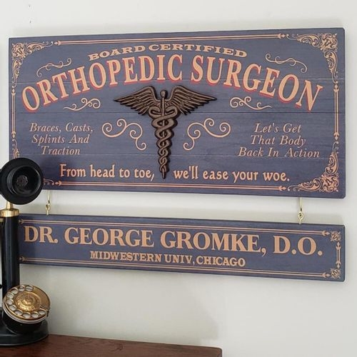 Orthopedic Surgeon Wood Sign with Optional Nameboard