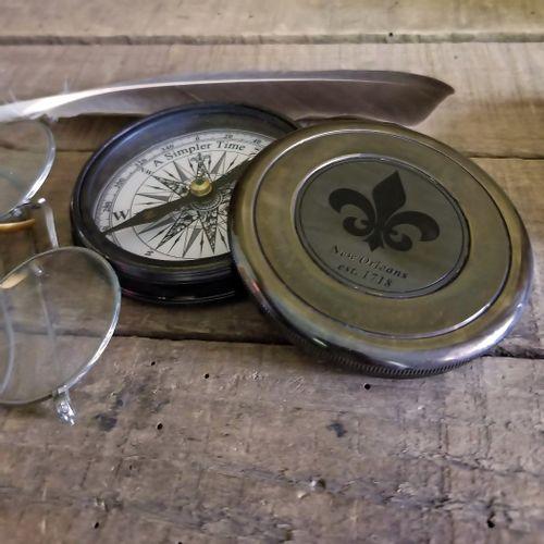 New Orleans Fleur De Lis Compass