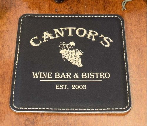Wine Grapes Personalized Square Leather Coaster Set