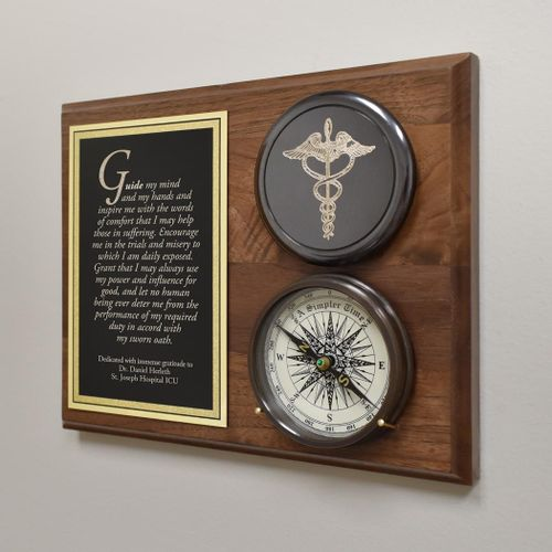 Healthcare Compass On Plaque