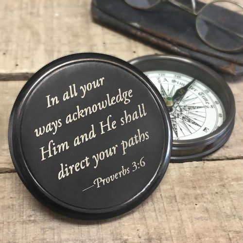 Proverbs 3:6 Brass Compass