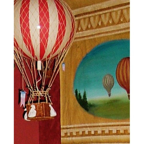 Red Striped Vintage Hot Air Balloon Model