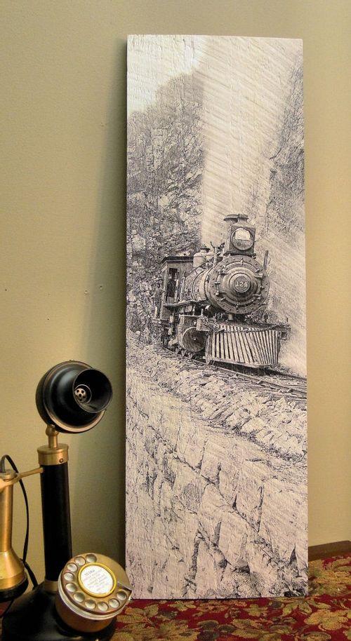 inOn the Edgein Vintage Locomotive Wood Sign