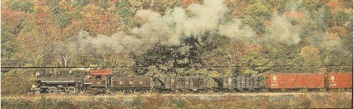 Train Fall Scene Vintage-Style Wood Sign