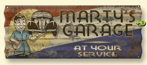 Vintage Corrugated Metal Personalized Garage Sign