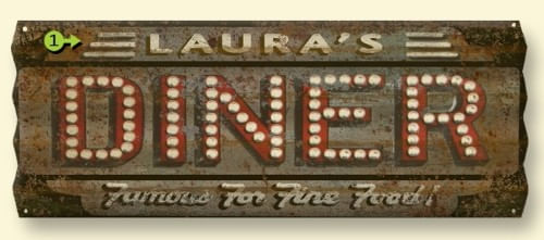 Vintage Style Corrugated Metal Personalized Diner Sign