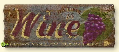 Vintage Corrugated Metal Wine Cellar Sign