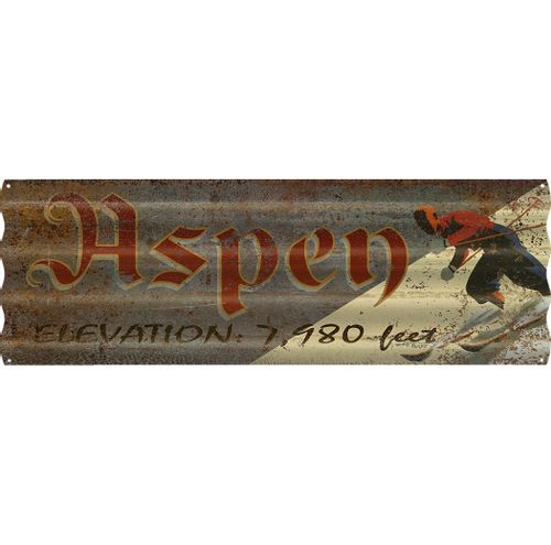 Corrugated Metal Personalized Ski Sign