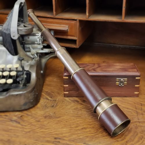 18 Inch Leather and Brass Telescope
