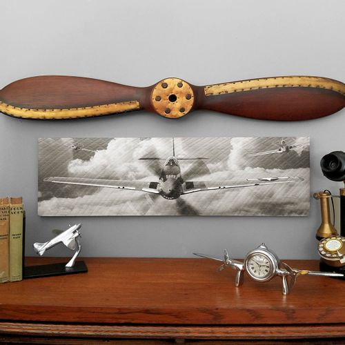 P-51 Mustang Fighter Out of The Clouds Wood Sign