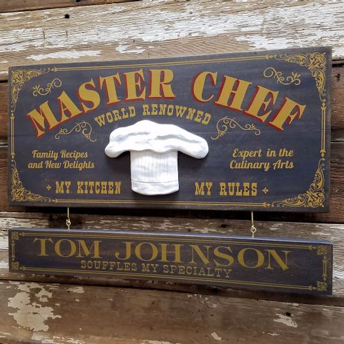 Master Chef Wood Plank Sign with Optional Personalization