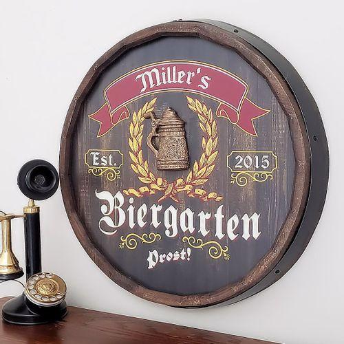 Biergarten Personalized Barrel End Bar Sign