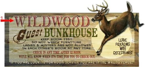 Guest Bunkhouse (Deer) Cut Up Personalized Hunting Cabin Sign