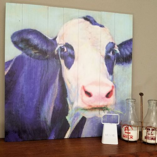 Grass Chewing Cow Wood Wall Art