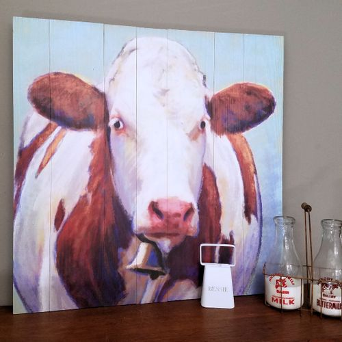 Brown Cow with Bell Wood Wall Art