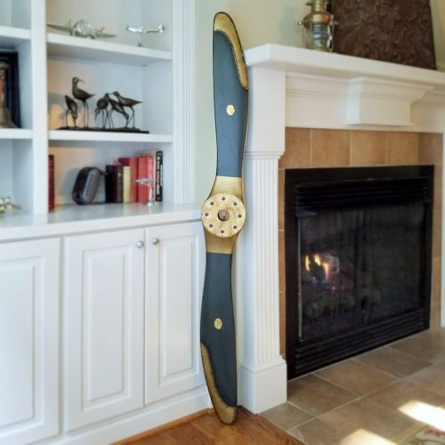 72 Inch Replica Wood Naval Airplane Propeller (Black and Gold Finish)