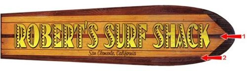 Surfboard Horizontal Cut Up Personalized Beach Sign