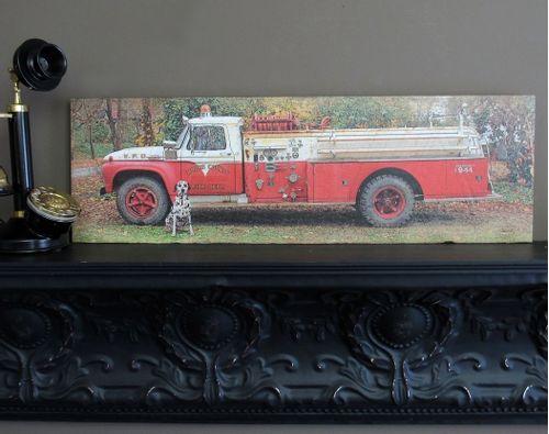 Vintage Fire Engine Wood Sign