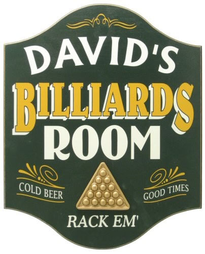 Billiards Room Personalized Wood Sign