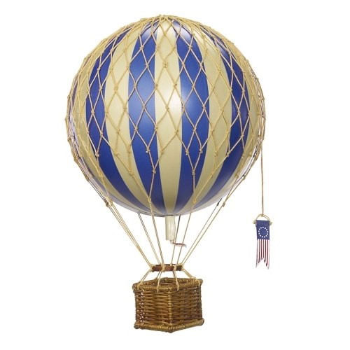 Royal Blue Striped Vintage Hot Air Balloon Model