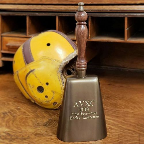 Antiqued Brass Cow Bell with Wood Handle
