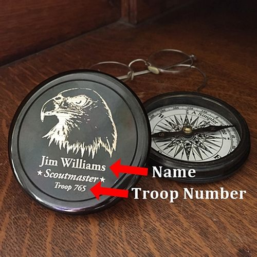 Personalized Scoutmaster Brass Compass