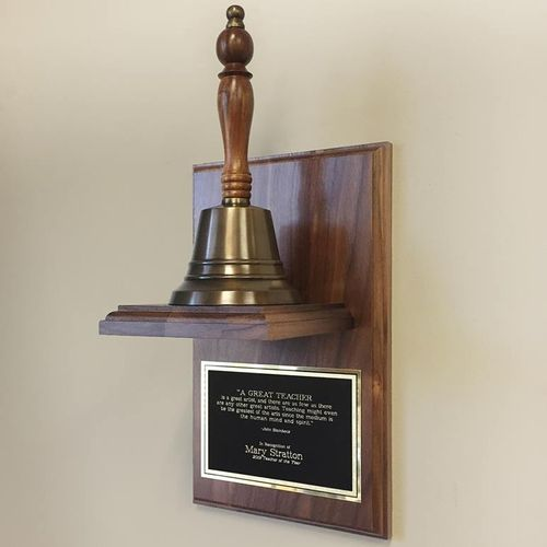 9 Inch Teacher Hand Bell On Plaque - Antiqued