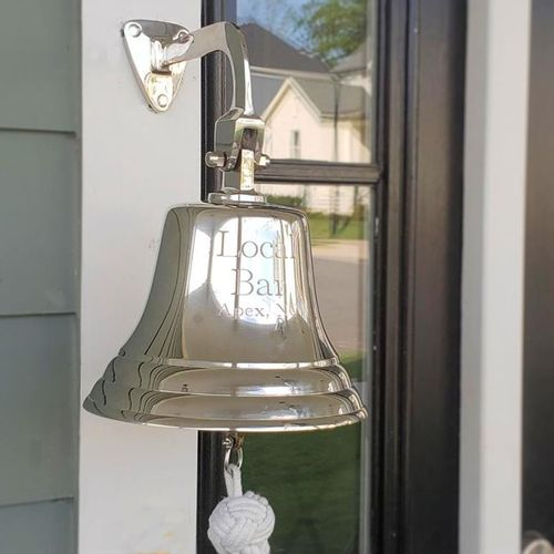 7 Inch Brass Engravable Wall Bell - Nickel