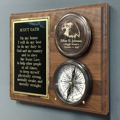 Eagle Scout Compass On Wood Plaque
