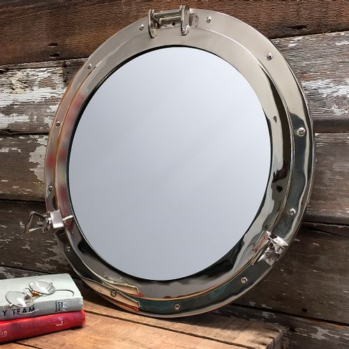 Nickel Finish Solid Brass Porthole Mirror 20 Inch