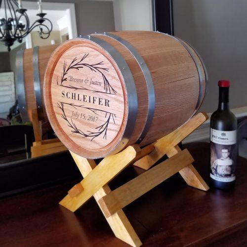 5 Gallon Wedding Branches Personalized Barrel