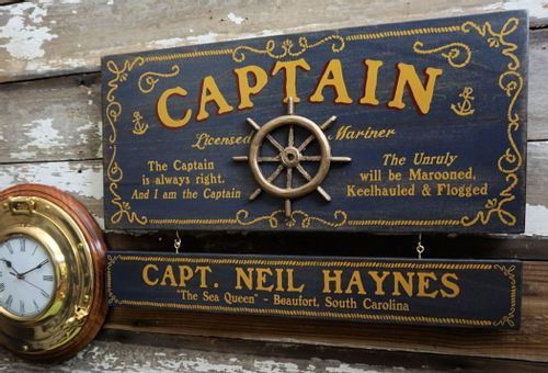 Captain Wood Sign with Optional Personalization