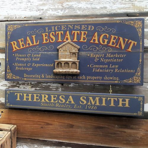 Real Estate Agent Wood Sign with Optional Personalization