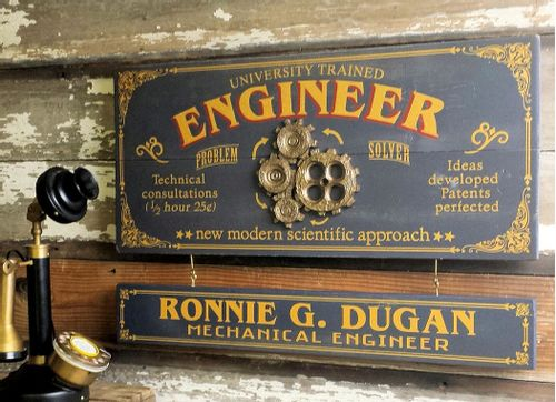 Engineer Wood Plank Sign with Optional Personalization