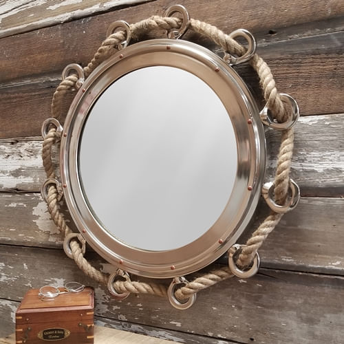 23 Inch Porthole Mirror With Rope - Second