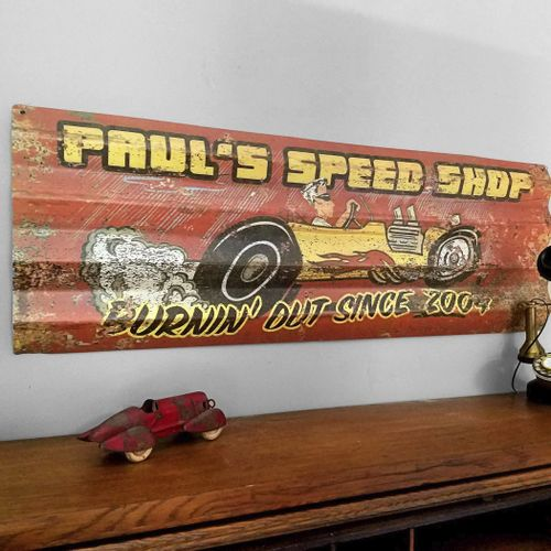 Hot Rod Personalized Corrugated Metal Sign