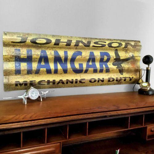 Corrugated Metal Personalized Airplane Hangar Sign