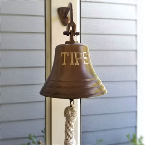 Engraved TIPS Wall Bell in Antiqued Brass Finish