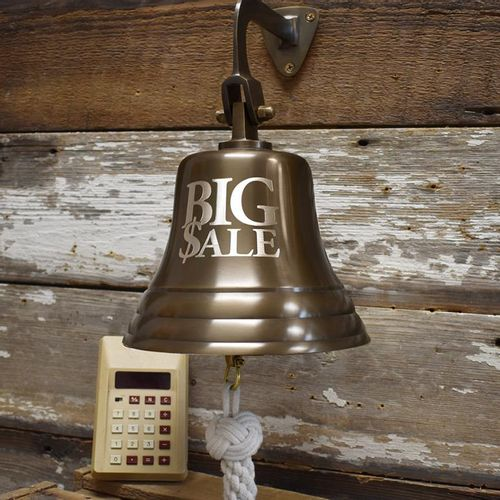 Engraved Business Bell - Antiqued - 8 Inch