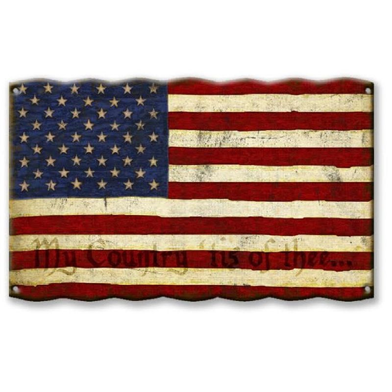 American-Flag--My-Country--Tis-of-Thee--Corrugated-Metal-Sign-13191