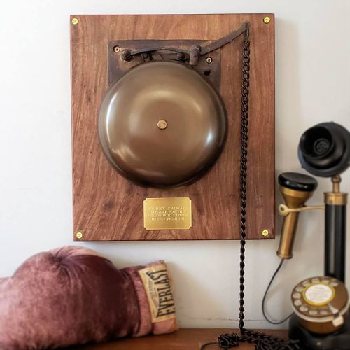 Large Brass Ringside Boxing Bell on Plaque