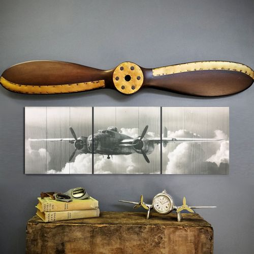 B-25 Fly By Triptych and Propeller Set