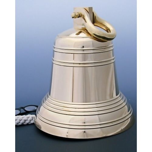 12 Inch Ridged Polished Brass Bell With Shackle