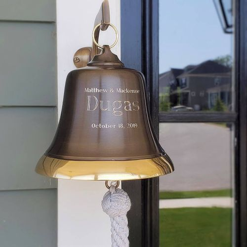 7 Inch Two-Toned Brass Engravable Wall Bell - 4.5 pounds