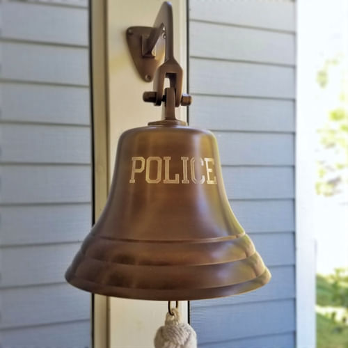 Engraved POLICE Wall Bell Antiqued Brass Finish - 7 Inch
