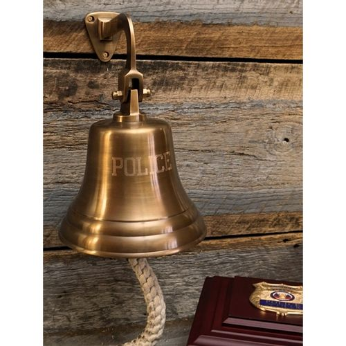 Engraved POLICE Wall Bell Antiqued Brass Finish