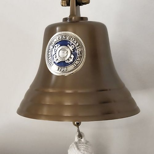 Coast Guard Pewter Emblem on 7 Inch Brass Bell - Military